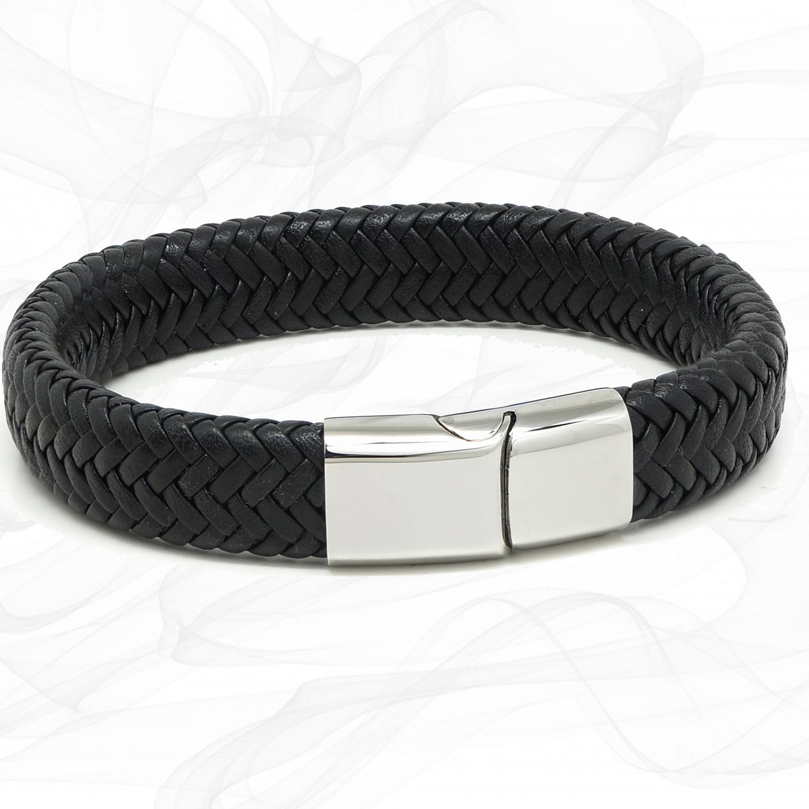 Chunky Black Super Soft Premium Leather Bracelet with a Silver Sliding Magnetic Clasp.