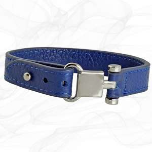 Blue Square Buckle Leather Wrap around Adjustable Bracelet