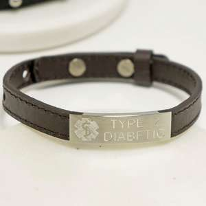 Personalised Adjustable Medical Alert Leather Bracelet with Any Engraving.
