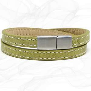 Elegant Yellow TWO STRAP LEATHER BRACELET