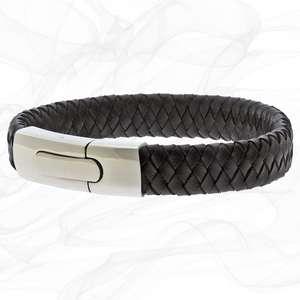Black and Silver Personalised Chunky Leather Bracelets for men
