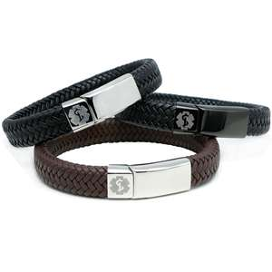 Black & Brown Leather Medical Alert ID Bracelet