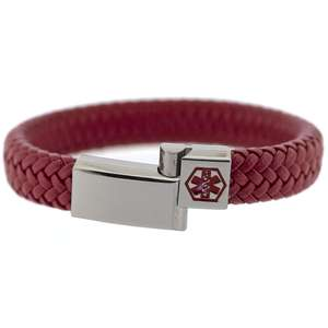 Red and Silver VEGAN 12mm Braided Leather Medical Alert ID Bracelet