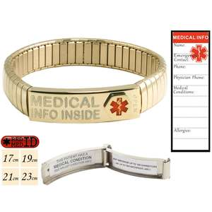 Gold Stainless Steel Medical Alert ID Bracelet with pre-printed Waterproof Labels