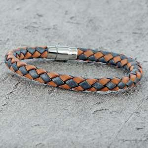 Natural and Grey SINGLE STRAND BOLO LEATHER BRACELET & MAGNETIC CLASP for Men