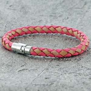 Beige and Pink SINGLE STRAND BOLO LEATHER BRACELET & MAGNETIC CLASP for Girls