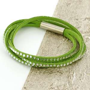 Green Womens Stacker Leather Beaded Bracelet, Multi R