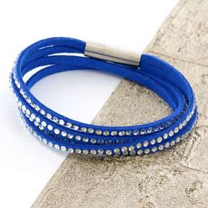 Blue Womens Stacker Leather Beaded Bracelet, Multi Row Layer Stack Wristband