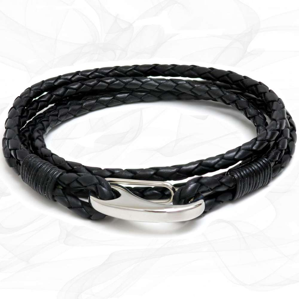 Black Quad Wrap Bolo Leather Bracelet with Steel Lobster Clasp by Tribal Steel