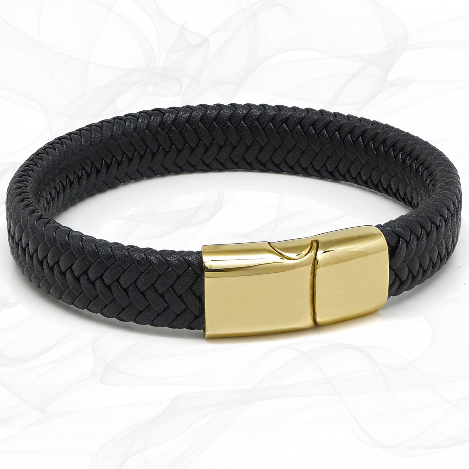 Chunky Black Super Soft Premium Leather Bracelet with a Gold Sliding Magnetic Clasp.