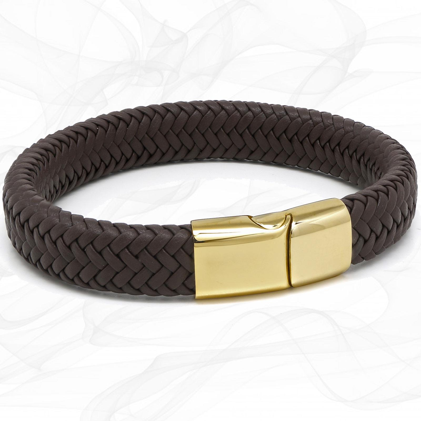 Chunky Brown Super Soft Premium Leather Bracelet with a Gold Sliding Magnetic Clasp.