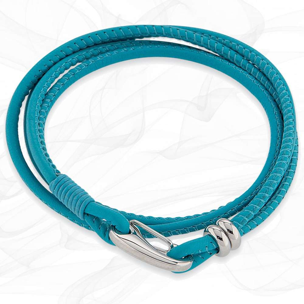 Simple smooth Turquoise 3mm Nappa Double wrap Leather Bracelet for Women