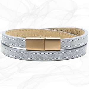 Elegant Grey TWO STRAP LEATHER BRACELET