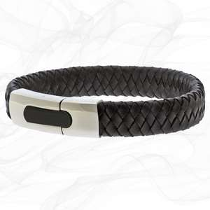 Black Personalised Chunky Leather Bracelets for men