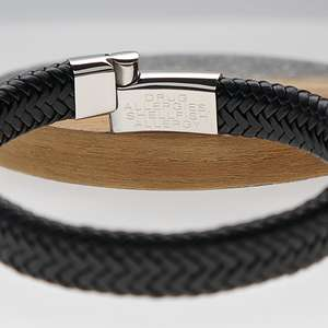 Black Leather Medical Alert ID Bracelet Inside