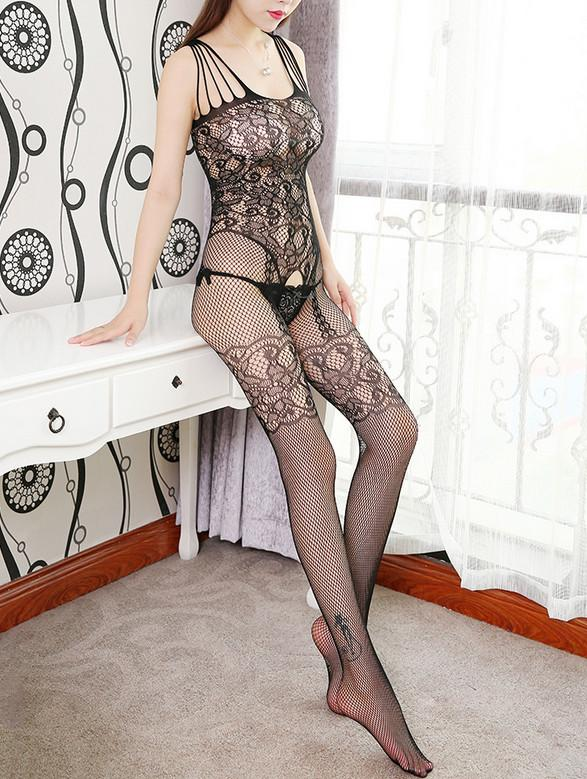 Libotoy Black Crotchless Fishnet Floral Lace Bodystocking