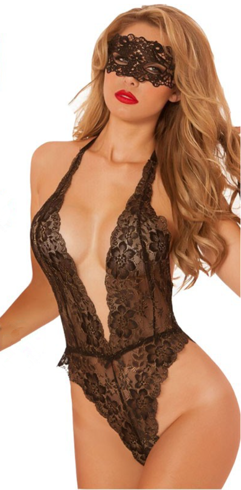 Libotoy Black Open Crotch Deep V-Neck Floral Lace Bodystocking With Eye-Mask 1