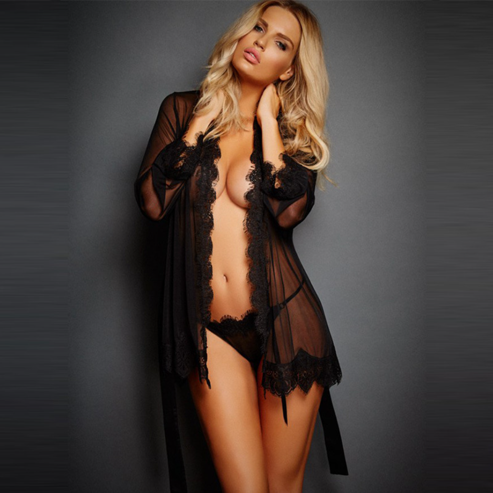 Libotoy Floral Lace Trim Sheer Black Robe With Satin Waist Tie 1