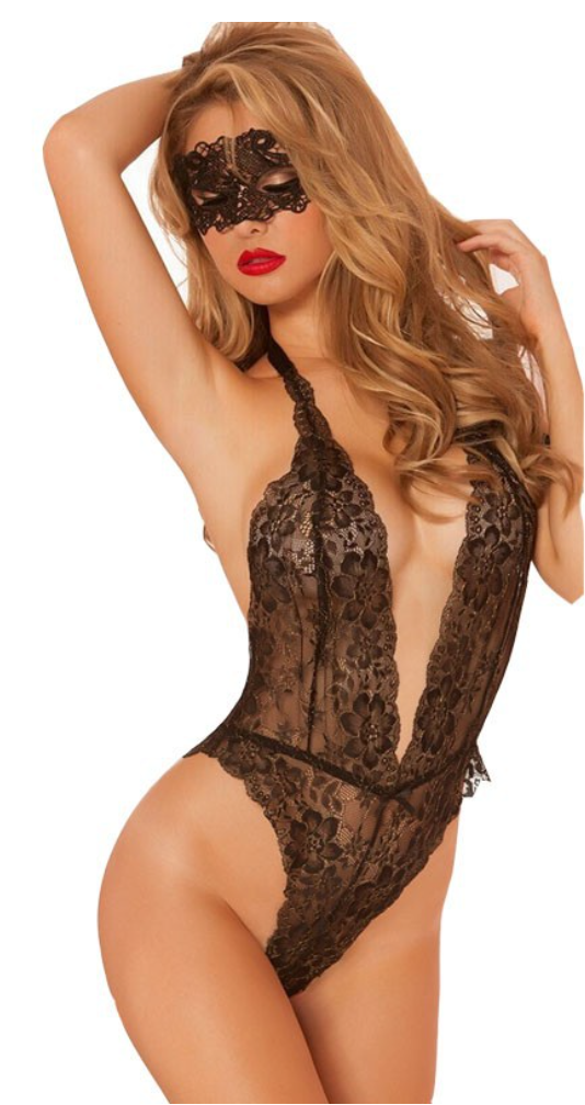 Libotoy Black Open Crotch Deep V-Neck Floral Lace Bodystocking With Eye-Mask 4