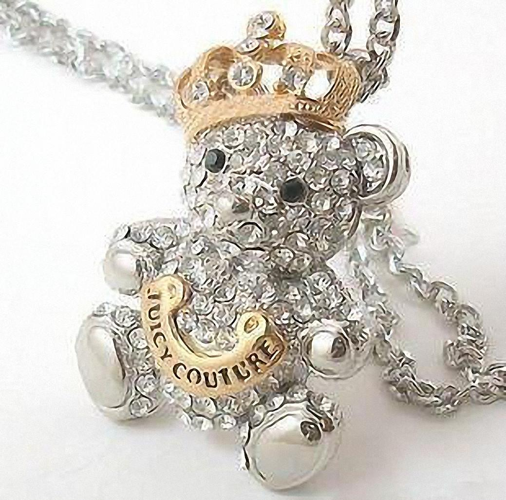 Crystal Juicy Couture Gold Crowned Teddy Bear Pendant Silver Chain Necklace Libotoy 1