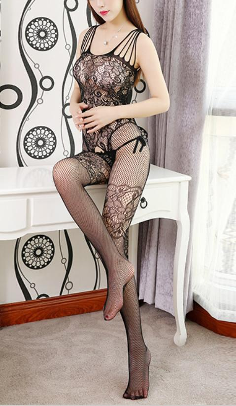 Libotoy Black Crotchless Fishnet Floral Lace Bodystocking 2