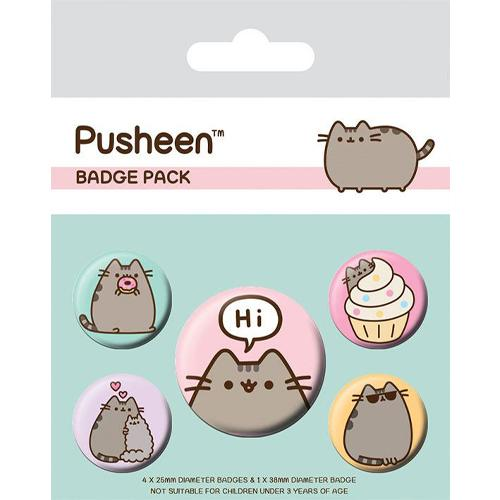 Pusheen Pin Badges 5-Pack: Pusheen Says Hi