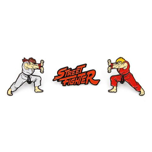 Street Fighter 3-Pack Pin Badges Ken, Ryu & Logo