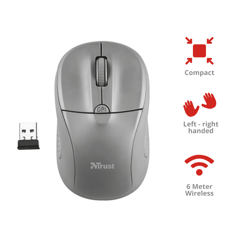 TRUST MOUSE WIRELESS PRIMO GREY 20785
