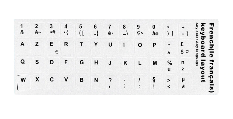 WHITE FRENCH KEYBOARD STICKERS