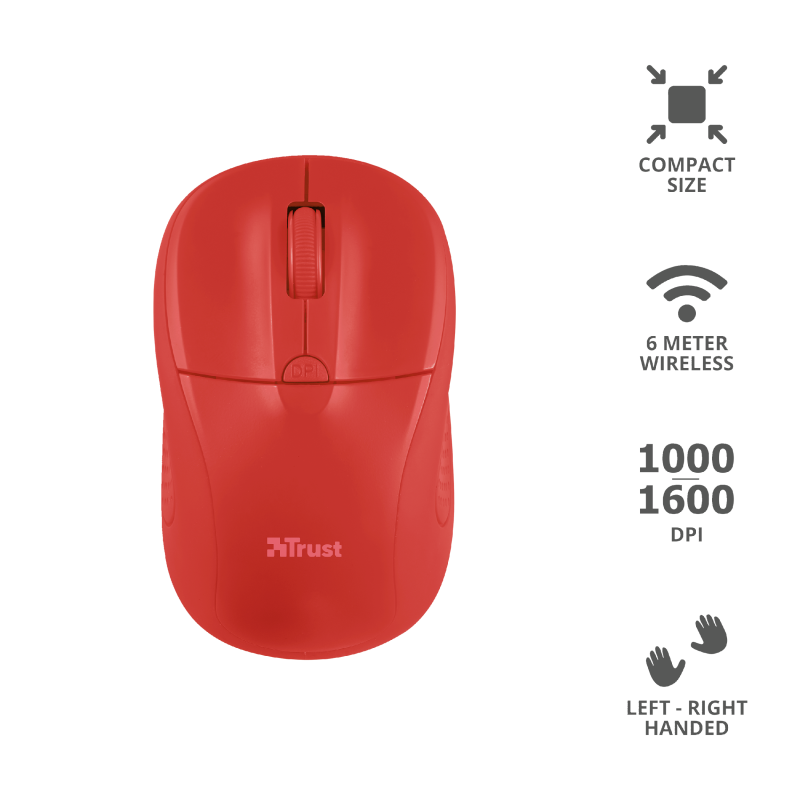TRUST MOUSE WIRELESS PRIMO RED 20787