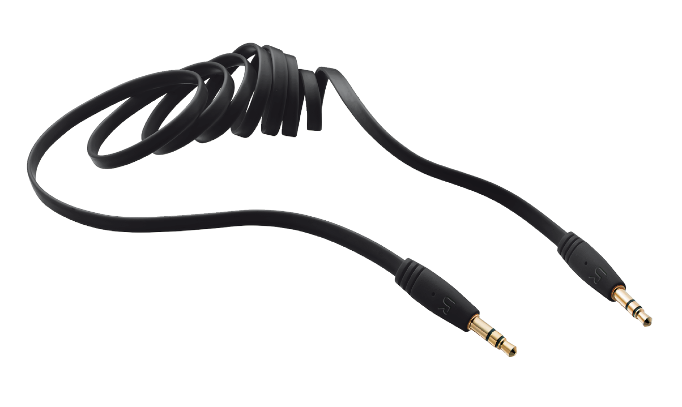 TRUST FLAT AUDIO 3.5MM CABLE 1M - BLACK