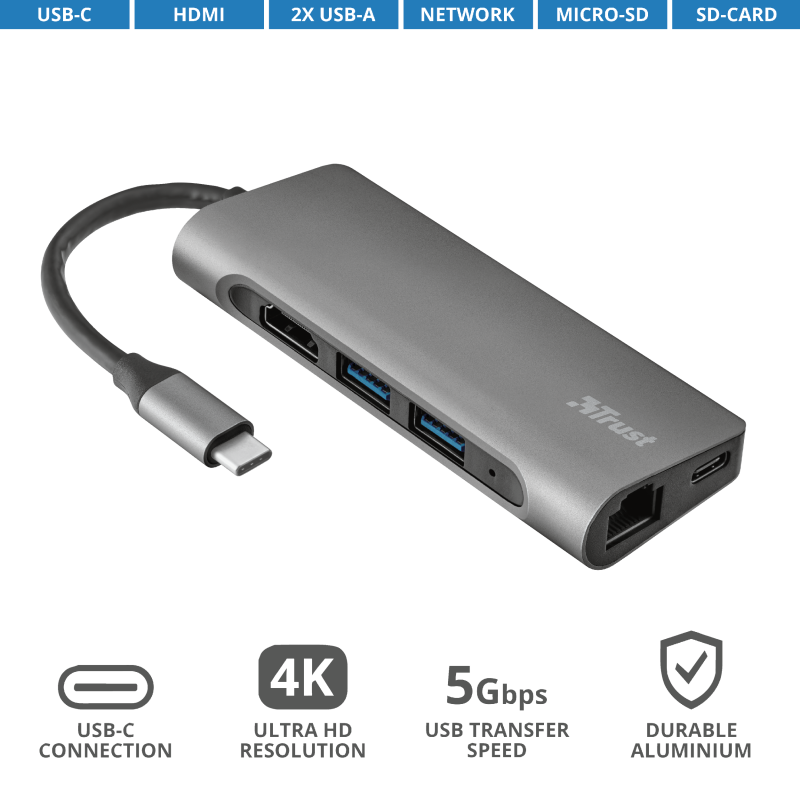 TRUST USB-C ADAPTER DALYX 7-IN-1 23331