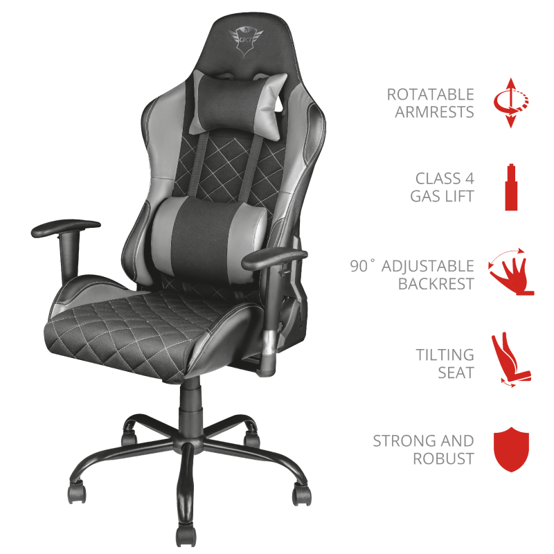 TRUST GXT 707 RESTO GAM.CHAIR 22525 GREY