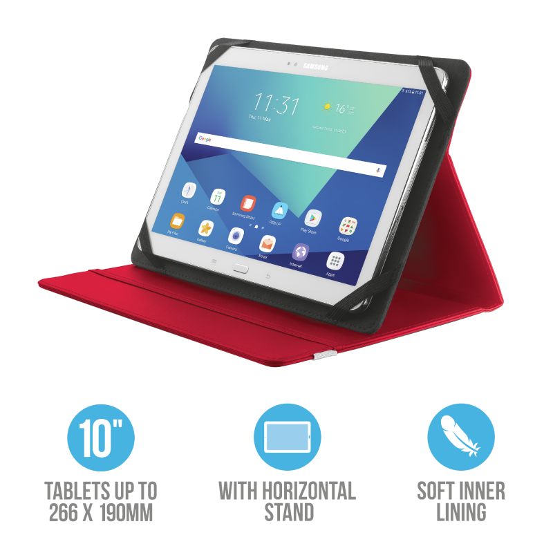 "TRUST TABLET CASE 10"" FOL/ST.RED 20316"