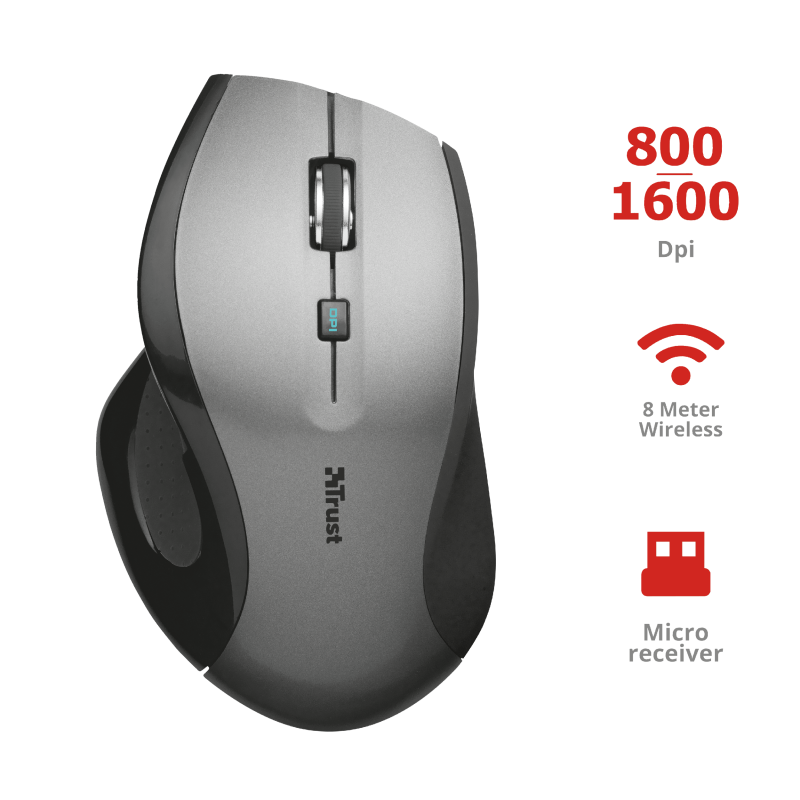 TRUST MAXTRACK WIRELESS MOUSE BLK/GREY
