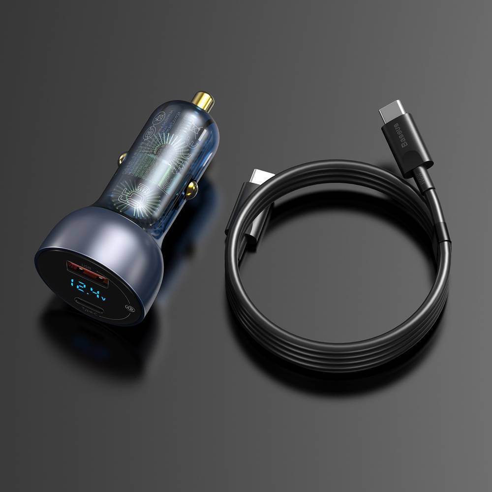 BASEUS TZCCKX-0G CAR CHARGER 45W BLACK