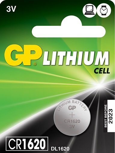 GP Lithium Button Cell CR1620 3V 78mAh