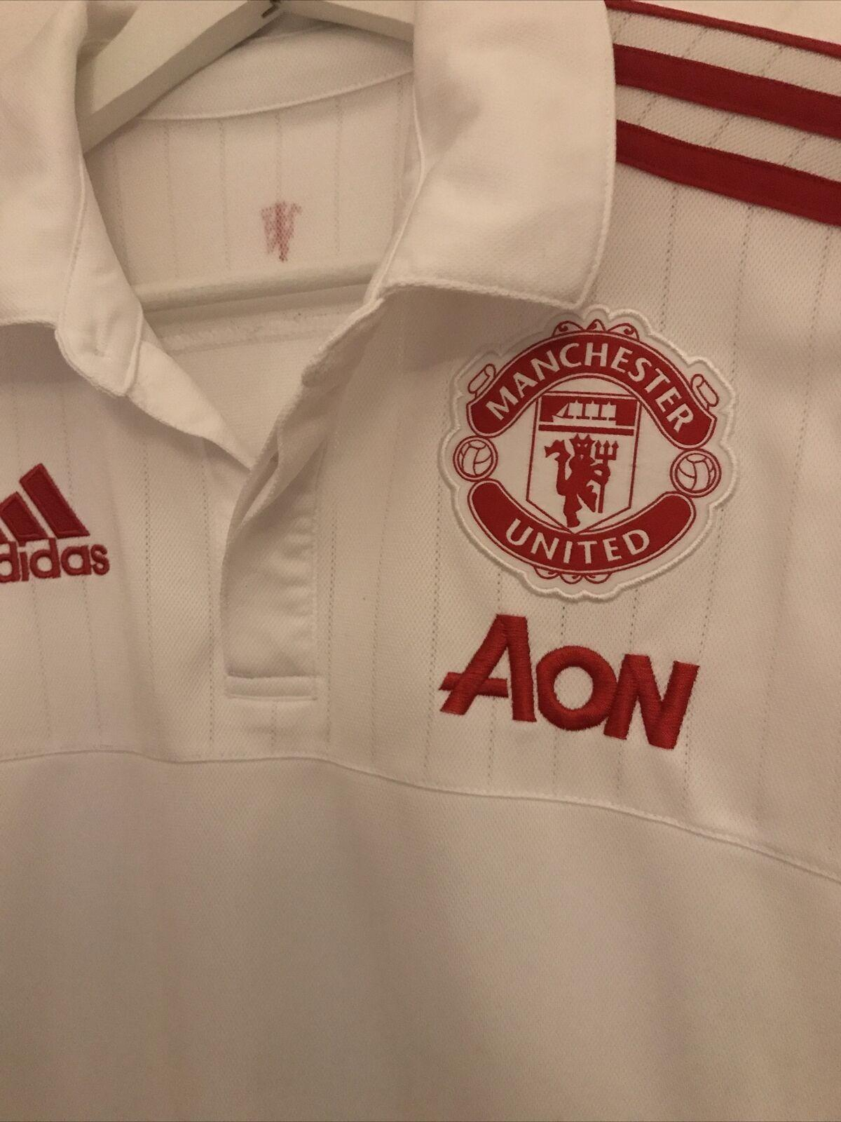 Manchester United White Adidas Football Polo Shirt Size Adult Small Football Shirts Online