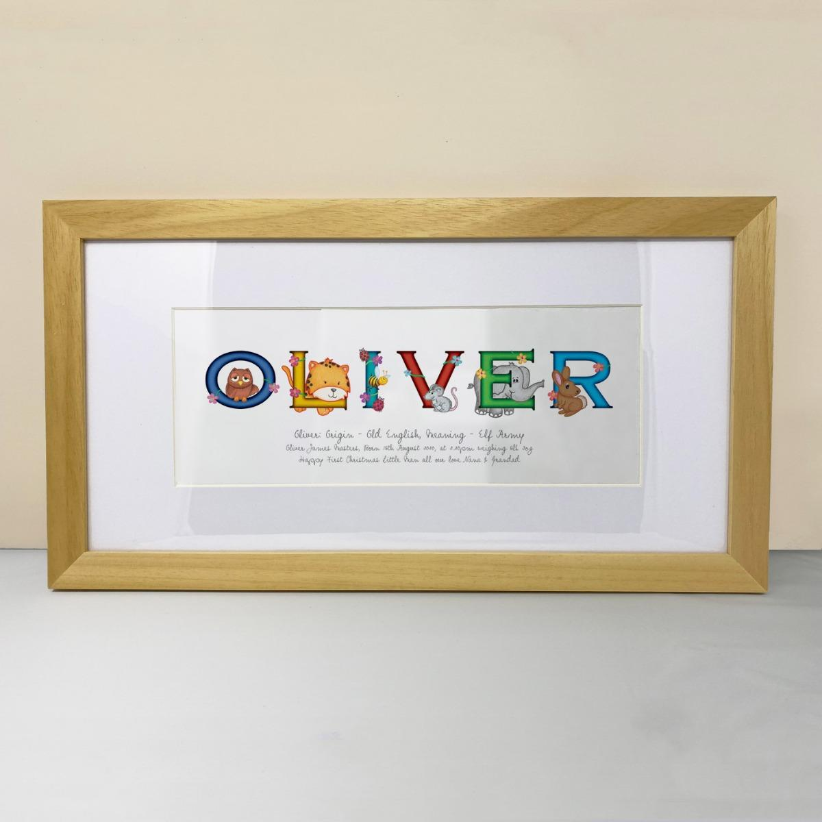 animal name signs, frame my name