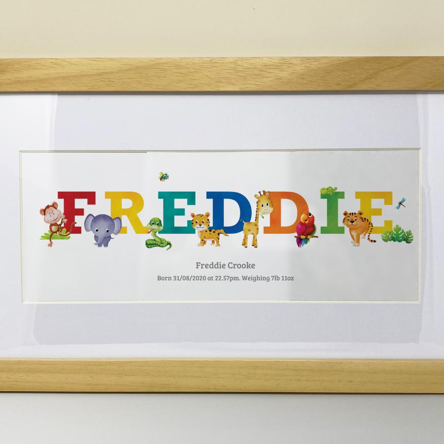 jungle safari name gifts, Frame My Name