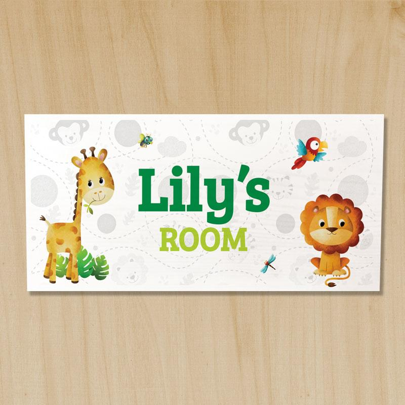 Wooden Jungle Door Sign, Safari Name Plaques