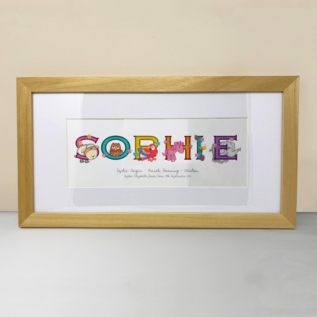 new baby gift, frame my name