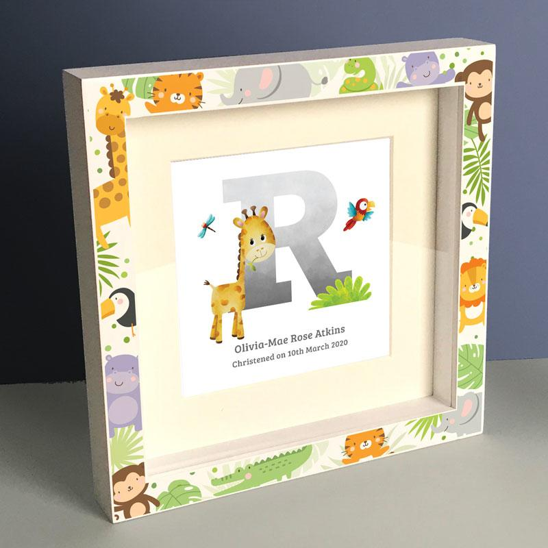 Frame My Name, giraffe animal gifts, Personalised Boys Letter Box Frame