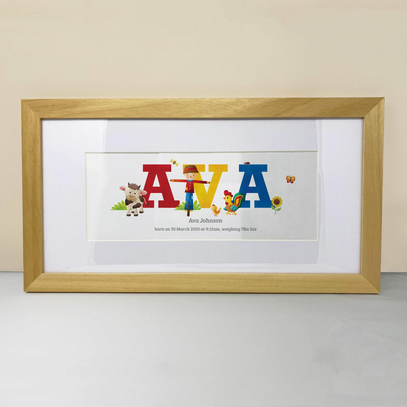 Farm animals name print, Frame My Name