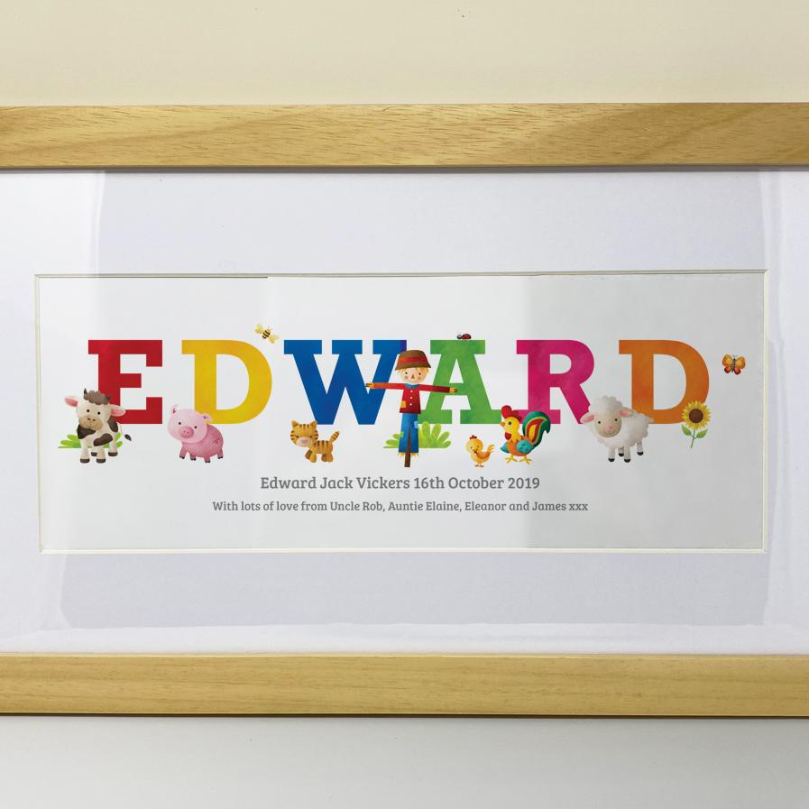 Personalised baby name prints, farmyard design