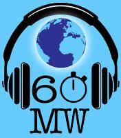 This is the 60 MW, or 60 Minutes With, logo. It shows a globe inside a pair of headphones.