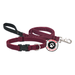 lupine eco friendly collar and lead made from recycled plastic bottles - lifetime guarantee even if chewed - maroon