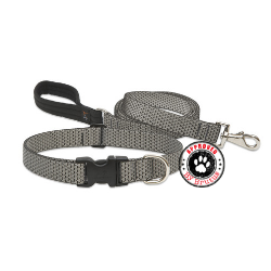 lupine eco friendly collar and lead made from recycled plastic bottles - lifetime guarantee even if chewed - silver grey