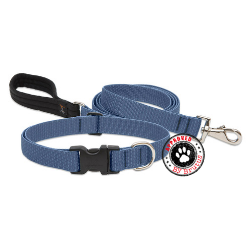 lupine eco friendly collar and lead made from recycled plastic bottles - lifetime guarantee even if chewed - mid blue