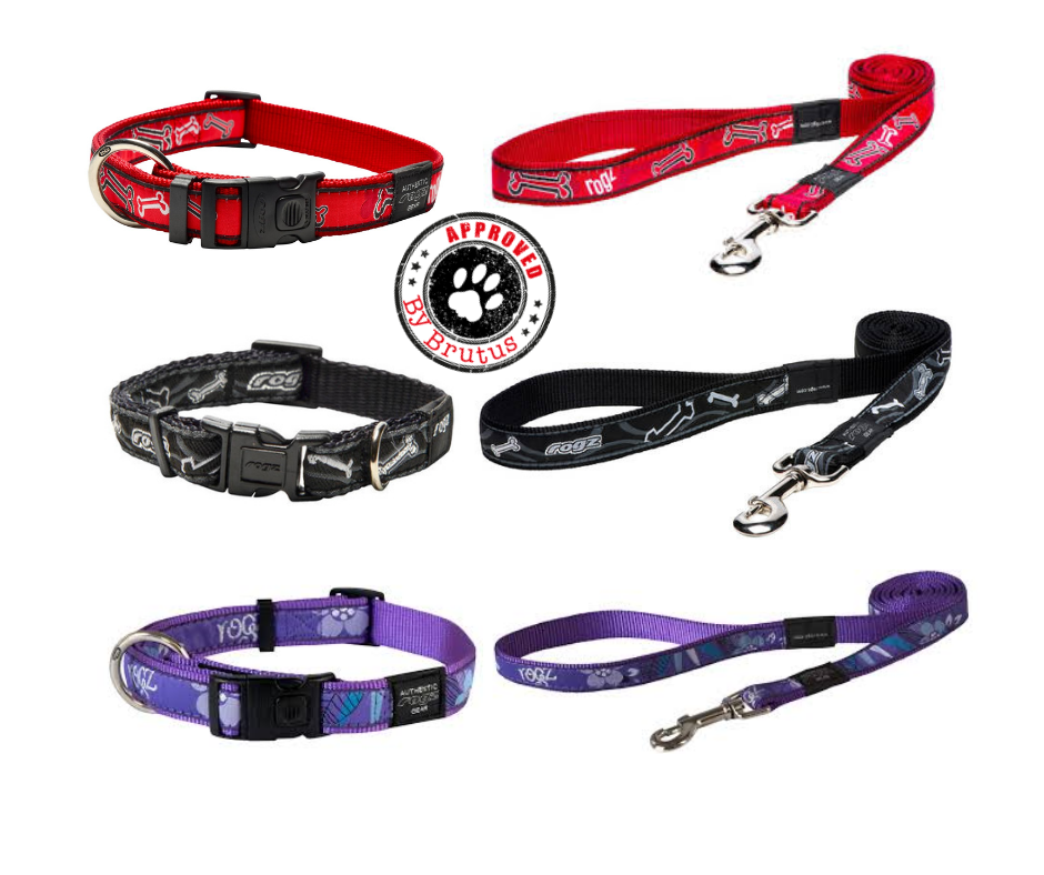 Rogz for dogz, dog and puppy collars and leads, red, black, purple